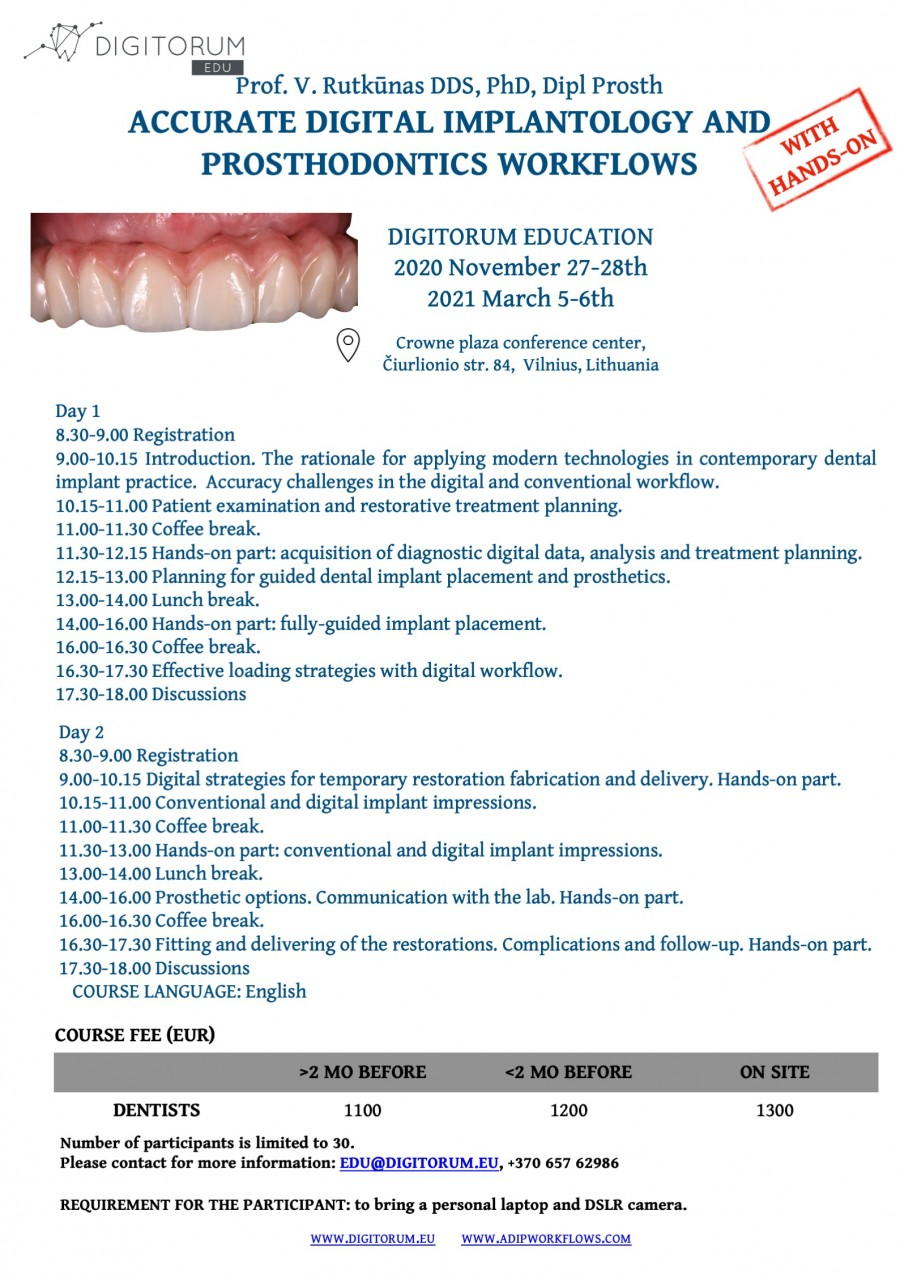 Digital implantology and prosthodontics. 2 day. Prof. Rutkunas